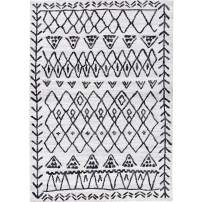 Decomall Moroccan Geometric Textured Shabby-Chic Diamond Tribal Area Rug for Living Room or Bedroom, 2.5x9 ft, Beige