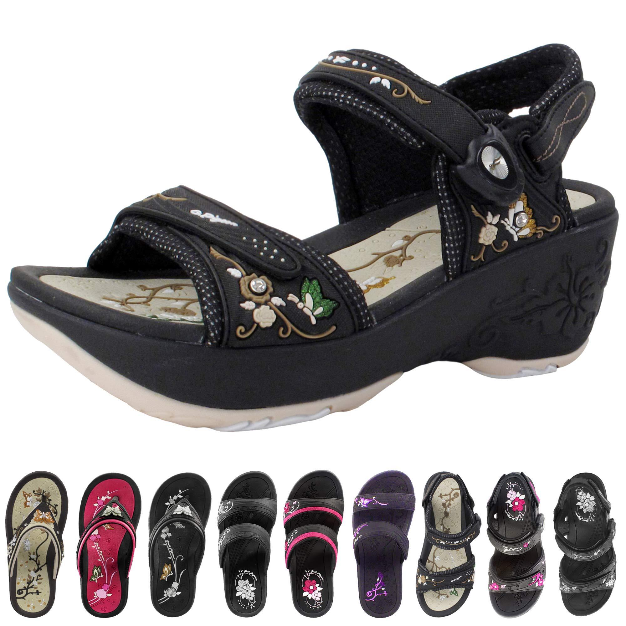 Gold Pigeon Shoes Wedge Sandals for Women: Comfort Flip Flops Slides & Strap Sandal (Size 4-8)