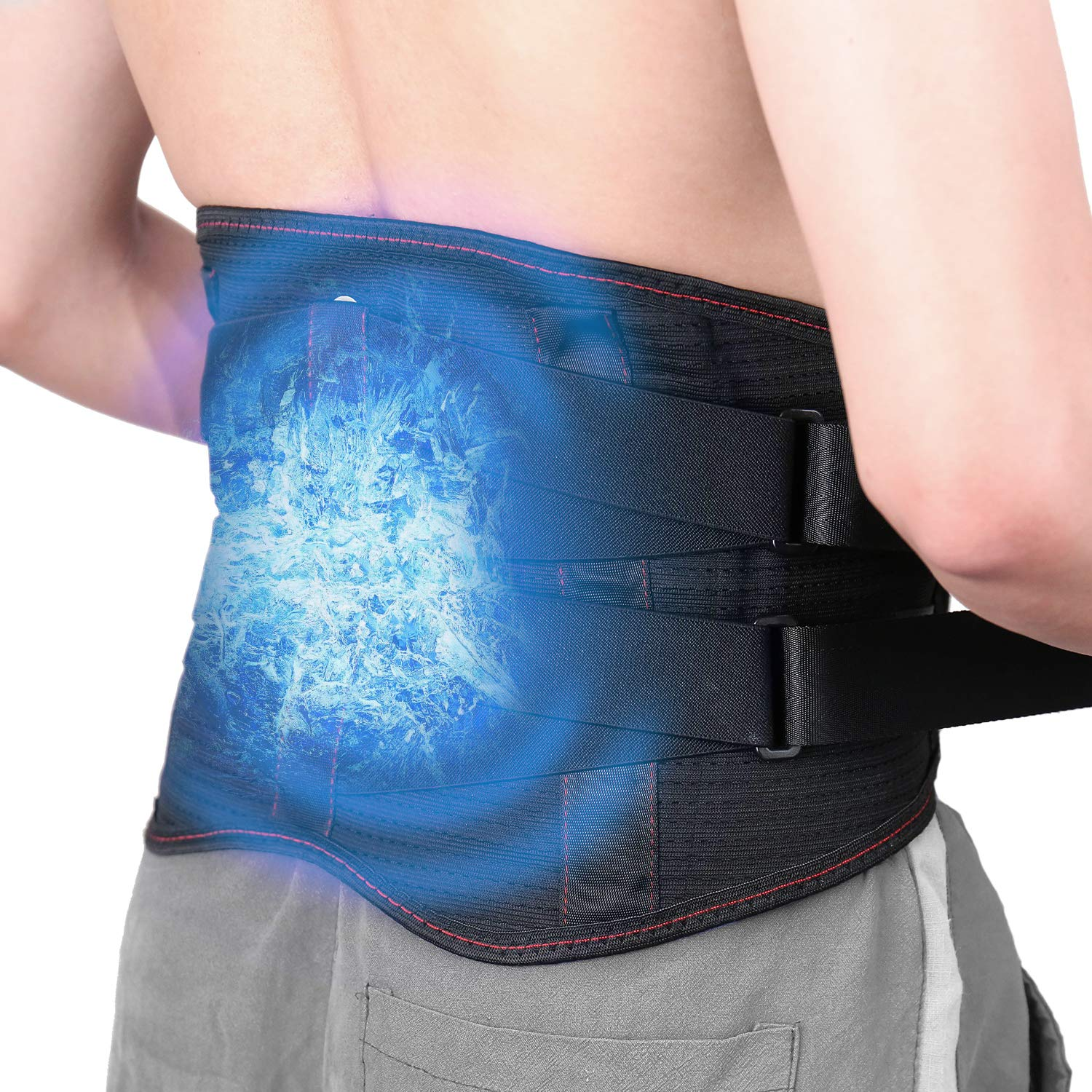 Ice Pack for Lower Back Pain Relief/Back Brace with Ice Packs for Lower Back Injuries, Sciatica, Coccyx, Scoliosis Herniated Disc - Adjustable Back Support Belt w/Hot Cold Therapy Wrap for Men Women