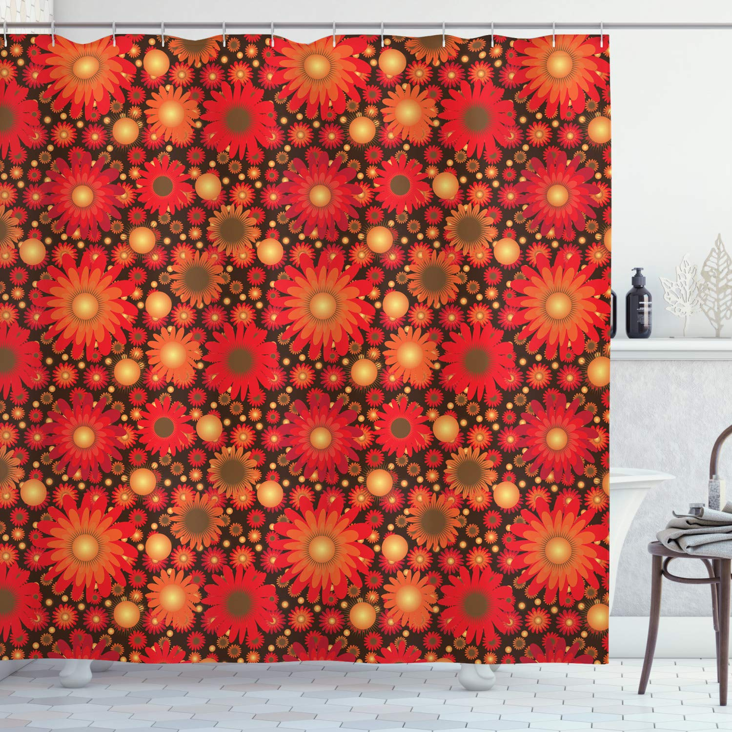 """Ambesonne Floral Shower Curtain, Vivid Floral Colored Botanical Composition with Gerbera Daisies, Cloth Fabric Bathroom Decor Set with Hooks, 84"""" Long Extra, Dark Green"""