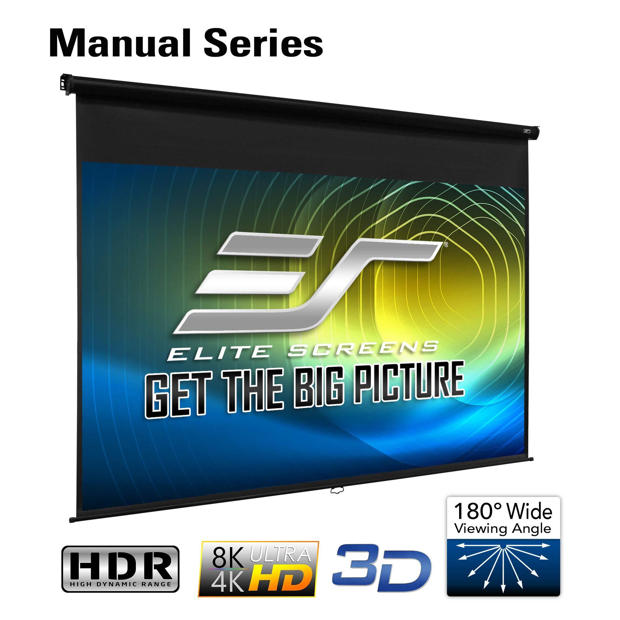 Elite Screens Manual Series, 86-INCH 16:10, Pull Down Manual Projector Screen with AUTO LOCK, Movie Home Theater 8K / 4K Ultra HD 3D Ready, 2-YEAR WARRANTY, M86UWX, 16:10, Black