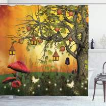 """Ambesonne Fantasy Shower Curtain, Wonderland Forest with Fairies Butterflies Elves and Apple Tree Universe, Cloth Fabric Bathroom Decor Set with Hooks, 70"""" Long, Orange Brown"""