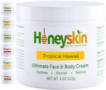 Organic Face and Body Moisturizing Skin Cream - with Manuka Honey and Coconut Oil - Anti Aging - Hydrating Facial Moisturizer - Tightening - Natural Tropical Hawaii Scent (4oz)