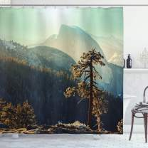 "Ambesonne Yosemite Shower Curtain, Yosemite National Park from The Top of Mountain Misty Morning Landscapes Photo, Cloth Fabric Bathroom Decor Set with Hooks, 75"" Long, Teal Brown"