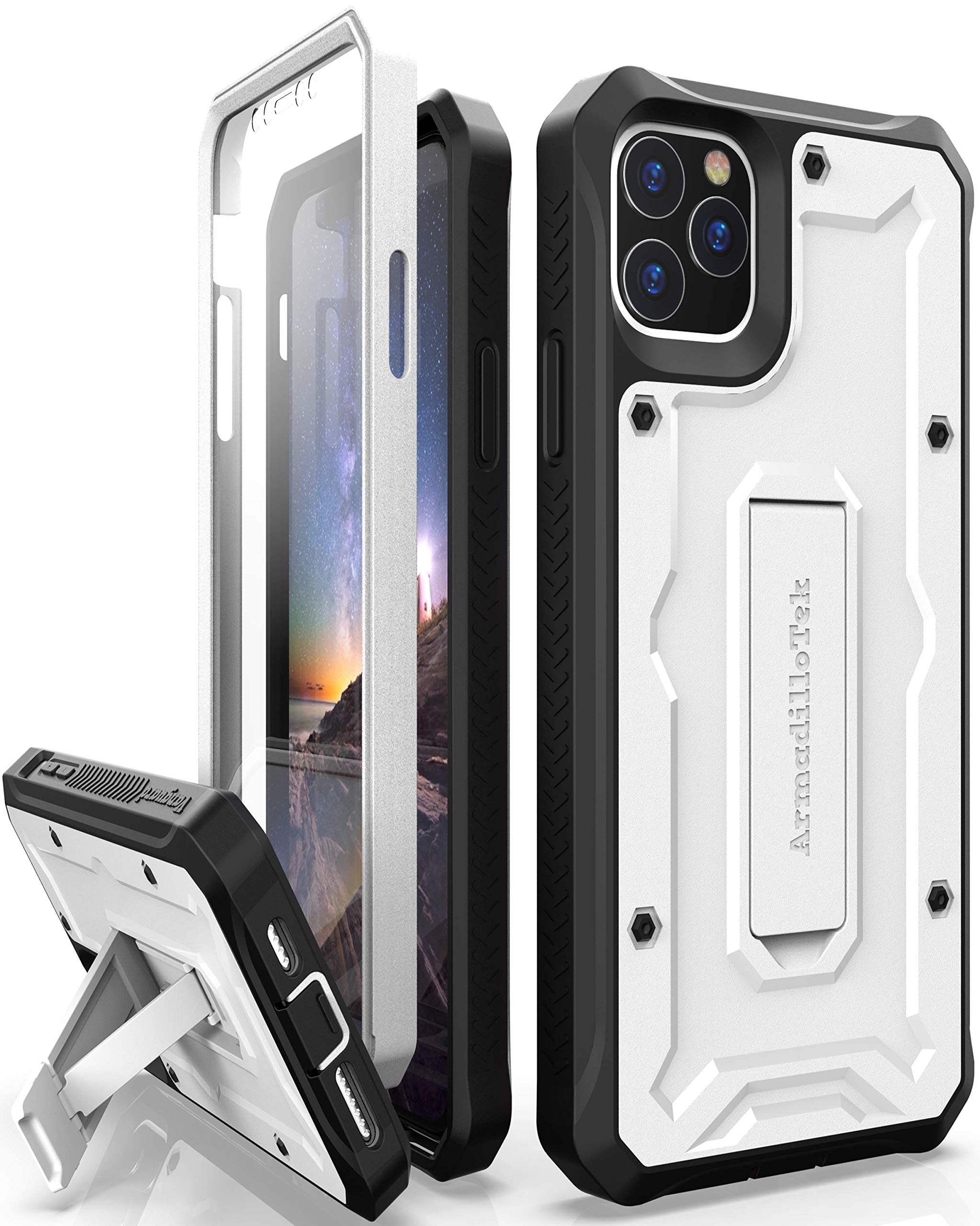 ArmadilloTek Vanguard Designed for iPhone 11 Pro Max Case (6.5 inches) Military Grade Full-Body Rugged with Kickstand and Built-in Screen Protector - White