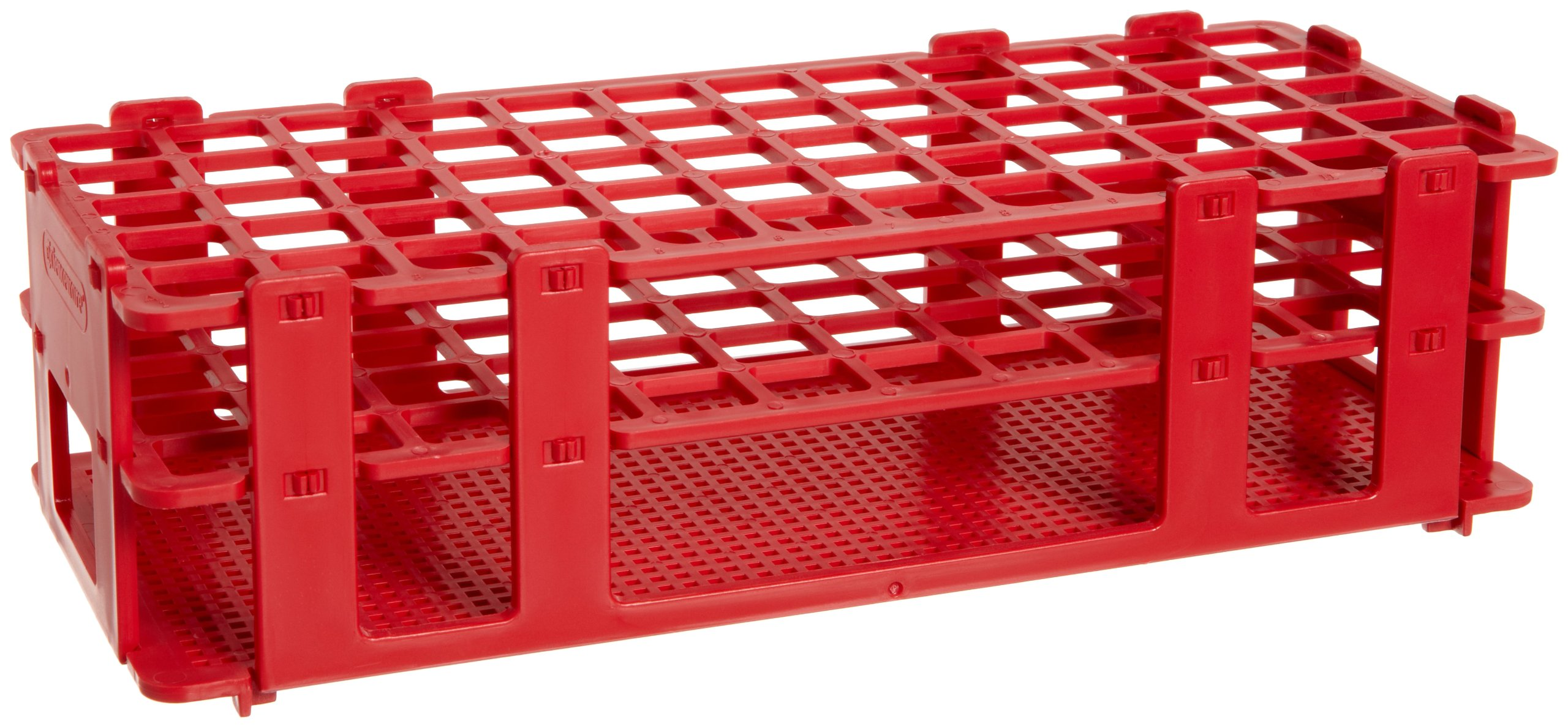 Bel-Art F18746-0001 No-Wire Test Tube Rack; 13-16mm, 60 Places, 9.7 x 4.1 x 2.5 in., Polypropylene, Red