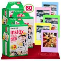Fujifilm Instax Mini Instant Film (60 Sheets) Instax Mini + 5 Picture Frames + FiberTique Cleaning Cloth (USA Warranty)