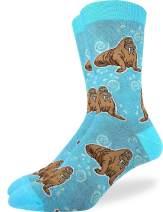 Good Luck Sock Men's Walrus Socks - Blue, Adult Shoe Size 7-12