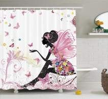 """Ambesonne Fashion Shower Curtain, Fairy Girl with Wings in a Floral Dress Fantasy Garden Flying Butterflies, Cloth Fabric Bathroom Decor Set with Hooks, 84"""" Long Extra, Pink White"""