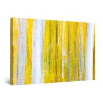 STARTONIGHT Canvas Wall Art - Surreal Forest Tree Yellow Painting Abstract, Framed 32 x 48 Inches