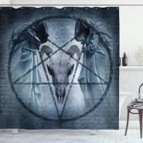 "Ambesonne Horror House Shower Curtain, Artwork with Pentagram Goat Skull Devil Dream Hooded Exorcist Image, Cloth Fabric Bathroom Decor Set with Hooks, 75"" Long, Blue"