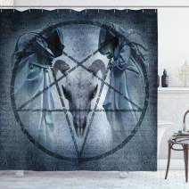 "Ambesonne Horror House Shower Curtain, Artwork with Pentagram Goat Skull Devil Dream Hooded Exorcist Image, Cloth Fabric Bathroom Decor Set with Hooks, 84"" Long Extra, Blue"