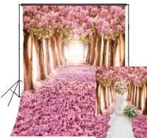 5x7ft Spring Cherry Blossom Theme Backdrop Blooming Pink Sakura Flower Background Fantasy Romantic Street Backdrop Kids Girls Princess Birthday Party Decoration Portrait Photo Studio Photobooth Props