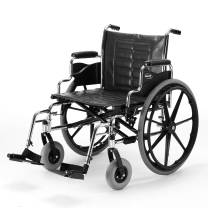 """Invacare - T424RDAP / T93HCP Tracer IV Wheelchair, with Desk Length Arms and T93HCP Hemi Footrests with Heel Loops, 24"""" Seat Width"""