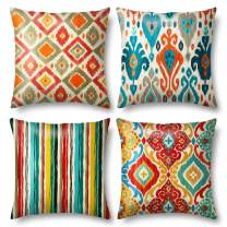 Cheerace Throw Pillow Covers Pack of 4, Decorative Square Pillowcase Soft Solid Cushion Case for Sofa Bedroom Car 18x18In (04-Nordic Style)