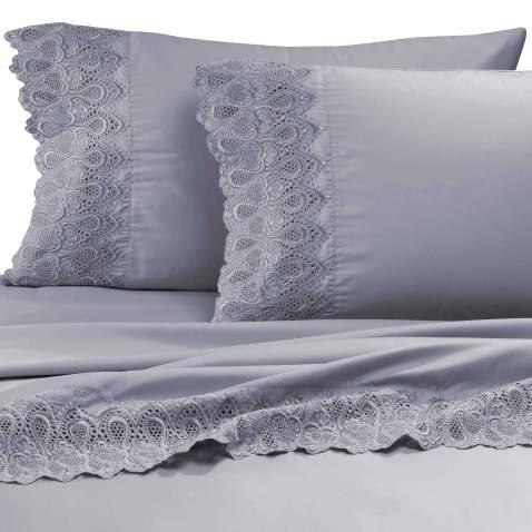 "AURAA Smart 600 Thread Count Cotton Rich, 4 Piece Sheet Set, 16"" Deep Pocket, LACE Hem, Smooth & Soft Sateen Weave, Hotel Quality (Charcoal, Queen)"