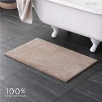 "Welhome 100% Microfiber Drylon Non Slip Bath Rug - Latex Backing - Ultra Absorbent - Quick Dry - Soft - Durable - Hotel Spa Bathroom Collection -21""x 34"" -Linen"