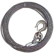 VULCAN Classic Steel Core Winch Cable with Swivel Hook - 15,100 lbs. Minimum Breaking Strength (3/8'' x 50')