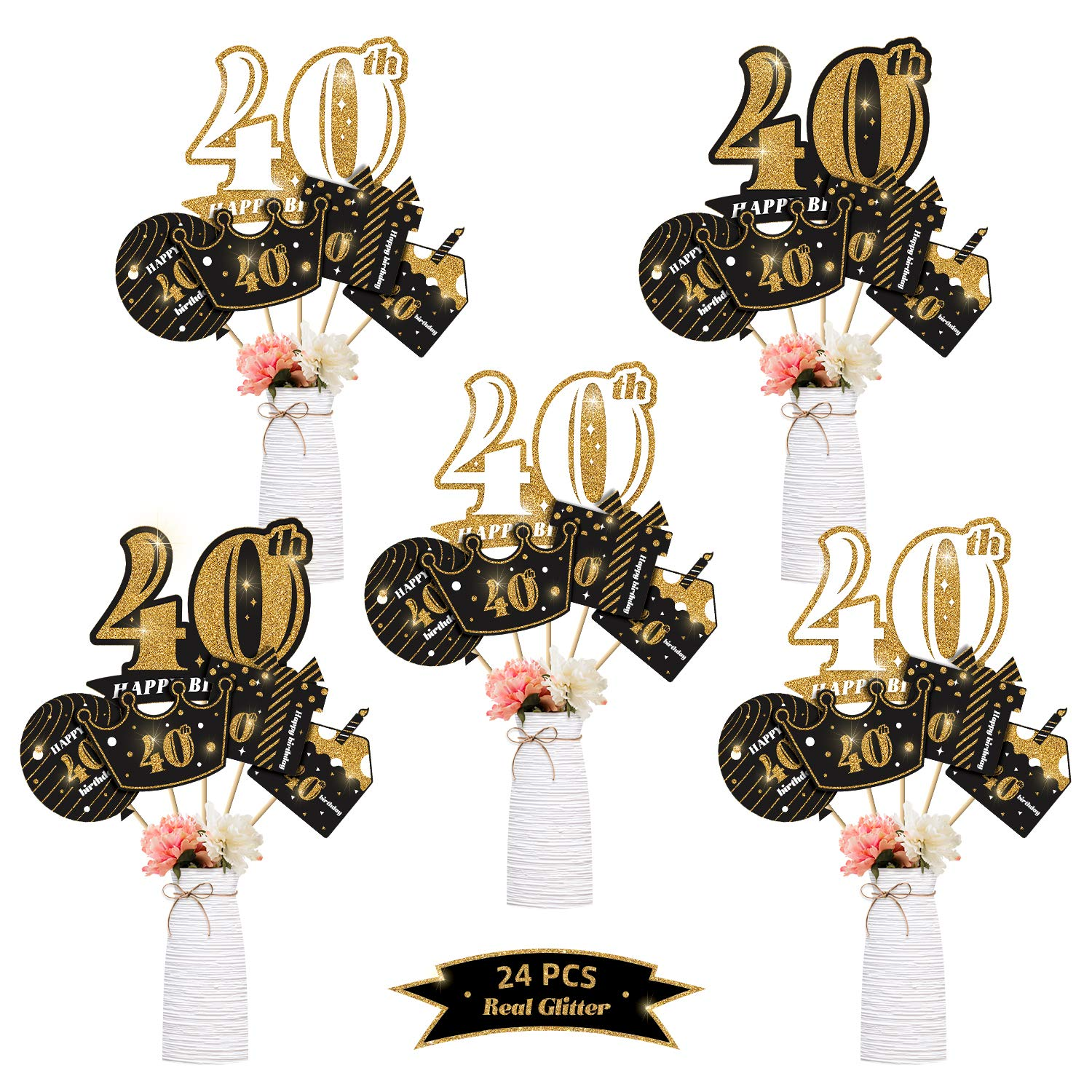 kortes 24Pack 40th Birthday Party Centerpiece Stickers (Real Glitter) Birthday Table Toppers Party Photo Booth Props, 40th Birthday Party Decoration Set