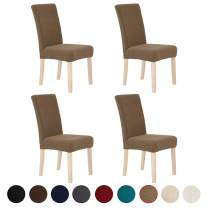 Deconovo Decorative Chair Covers Jacquard Seat Covers Super Soft Seat Slipcovers Set of 4, Light Brown