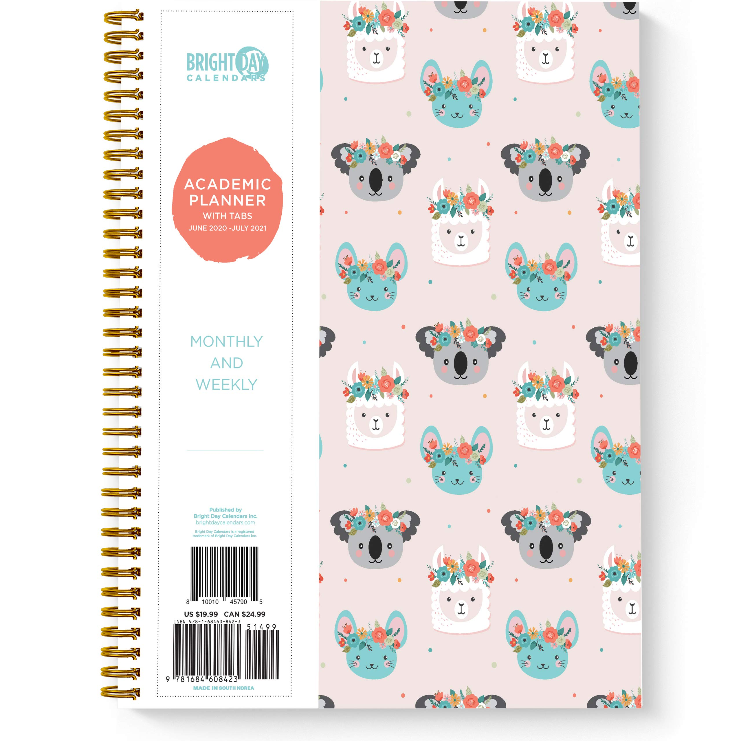 Academic Planner -Yearly Monthly Weekly Daily Calendar Organizer by Bright Day Spiral Bound Dated Agenda Flexible Cover Notebook (Flower Crown, 11 x 8.75)