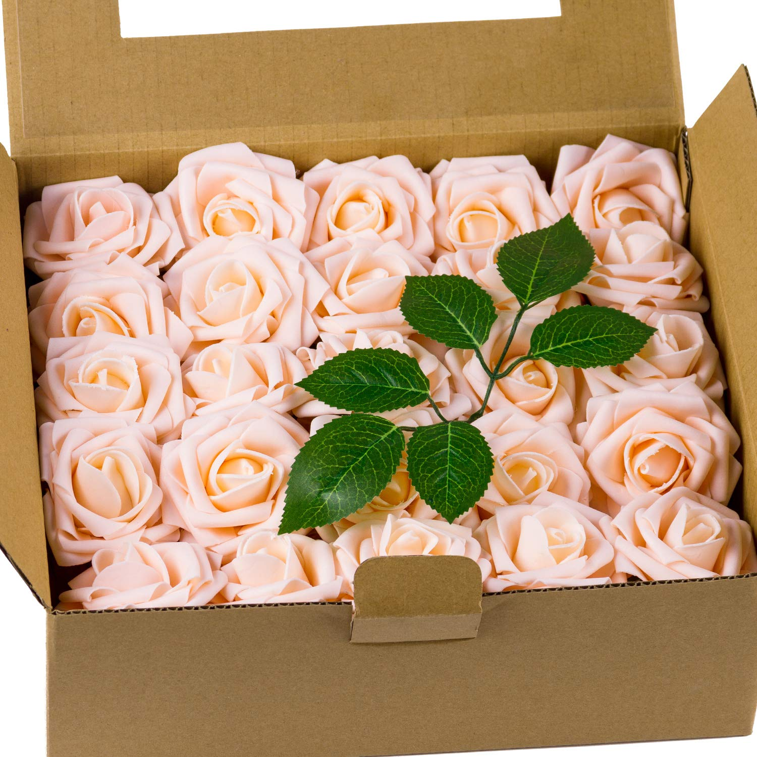 Loveinside Artificial Flowers Champagne Rose 50pcs Real Looking Fake Roses for DIY Wedding Bouquets Centerpieces Corsage Baby Shower Party Home Decorations