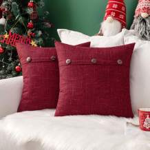MIULEE Set of 2 Decorative Linen Throw Pillow Covers Cushion Case Triple Button Vintage Farmhouse Pillowcase for Couch Sofa Bed Christmas Decor 18 x 18 Inch Wine Red
