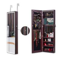 KEDLAN Jewelry Armoire Cabinet Touch Screen Light & 6 LED Inside Dark Brown Full-Length Frameless Mirrored Storage on Wall or Door Large Capacity for Dressing, Makeup, Wider View