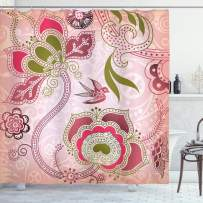 """Ambesonne Ethnic Shower Curtain, Floral with Scroll Swirl Leaf Lines Boho Artwork, Cloth Fabric Bathroom Decor Set with Hooks, 84"""" Long Extra, Olive Green"""