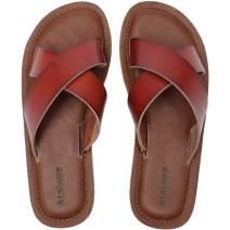 Ataiwee Womens Slide Sandals - Comfortable Elastic Cross Cloth Strap Easy Girls Flat Summer Shoes.
