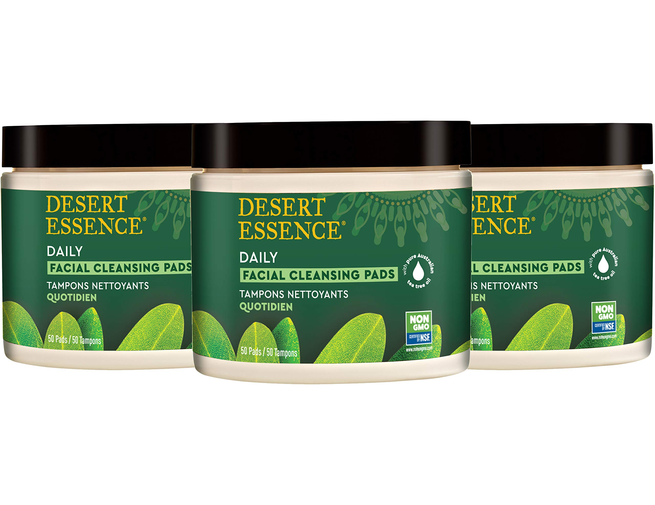 Desert Essence Natural Tea Tree Oil Facial Cleansing Pads - 50 Count - Pack of 3 - Face Cleanser - Soothes & Calms Skin - Makeup Remover Pads - Removes Oil & Dirt - Great for Travel - Essential Oils