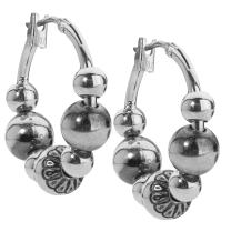 American West Sterling Silver Native Pearl Bead Choice of 3 Sizes Hoop Earrings