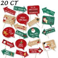20Ct Christmas Party Photo Booth Props - Funny Xmas Holiday Decorations Supplies
