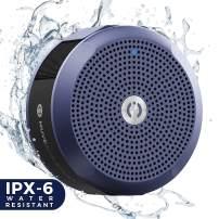 MuveAcoustics Portable Bluetooth Waterproof Speaker - Loudest Splashproof Stereo Sound, Blue