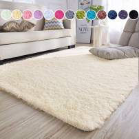 junovo Ultra Soft Area Rugs 5.3 x 7.5ft Fluffy Carpets for Bedroom Kids Girls Boys Baby Living Room Shaggy Floor Nursery Rug Home Decor Mats, Beige
