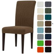 subrtex Dining Room Chair Slipcovers Sets Stretch Furniture Protector Covers for Armchair Removable Washable Elastic Parsons Seat Case for Restaurant Hotel Ceremony(2,Coffee)