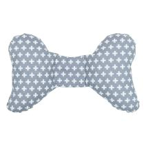 Original Baby Elephant Ears Head Support Pillow for Stroller, Swing, Bouncer, Changing Table, Car Seat, etc. (Grey Cross)
