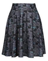 HDE Skirts for Women - Midi Skirt Skater Skirt Knee Length High Waist Fun Prints