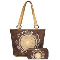 American Bling By Montana West Concealed Carry Purse and Wallet 2 Piece Handbag Set - Western Design