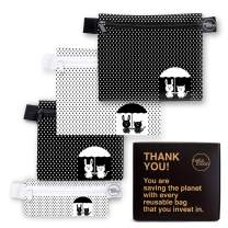 Eco-Friendly Reusable Snack and Sandwich Bags - Zero Waste Designer Dishwasher Safe Bags Set Includes 2 Large Reusable Food Bags 1 Medium 1 Small Snack Bags | Reusable Lunch Bag Set Kids (Raindrops)