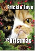 12 'Frickin' Love Christmas' Boxed Christmas Cards with Envelopes 4.63 x 6.75 inch, Funny Kitty Cat Christmas Cards, Adorable Kitten Holiday Notes, Hilarious Christmas Stationery B1942