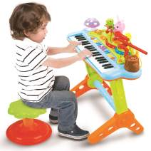 Prextex Toy Piano Keyboard for Kids with Real Working Microphone Electronic Musical Instrument Piano Toy Keyboard with Record and Playback, Synthesizer and Stool