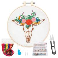 KHALEE Full Set of Hand-Made Embroidery Starter Kit, Cross Stitch Kits for Beginners Including Patterned Embroidery Cloth, Plastic Hoop,Color Floss,Tools Kit(Cow Head, 6 Inches in Diameter)