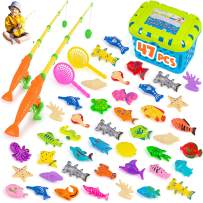 BRITENWAY Magnetic Fishing Game, Kids Bath Water Pool Toys for Toddlers, Fish Toy Set , 2 Fisinhg Rods Poles and Reels, 2 Catching Nets, Floating Fishes for, Kids Toys for Table, Bathtub, Pool, Floor