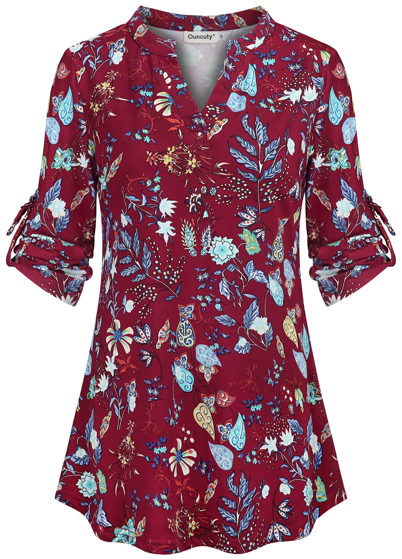 Ouncuty Womens V Neck Casual Flowy Blouses Shirts 3/4 Sleeve Floral Tunic Tops
