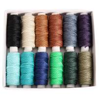 FANDOL Wax Coated Cords Polyester Leather Sewing Thread Wax-Coated Strings for Macrame, DIY Bracelets, Handcraft or Leather Projects (12 Dark Colors)