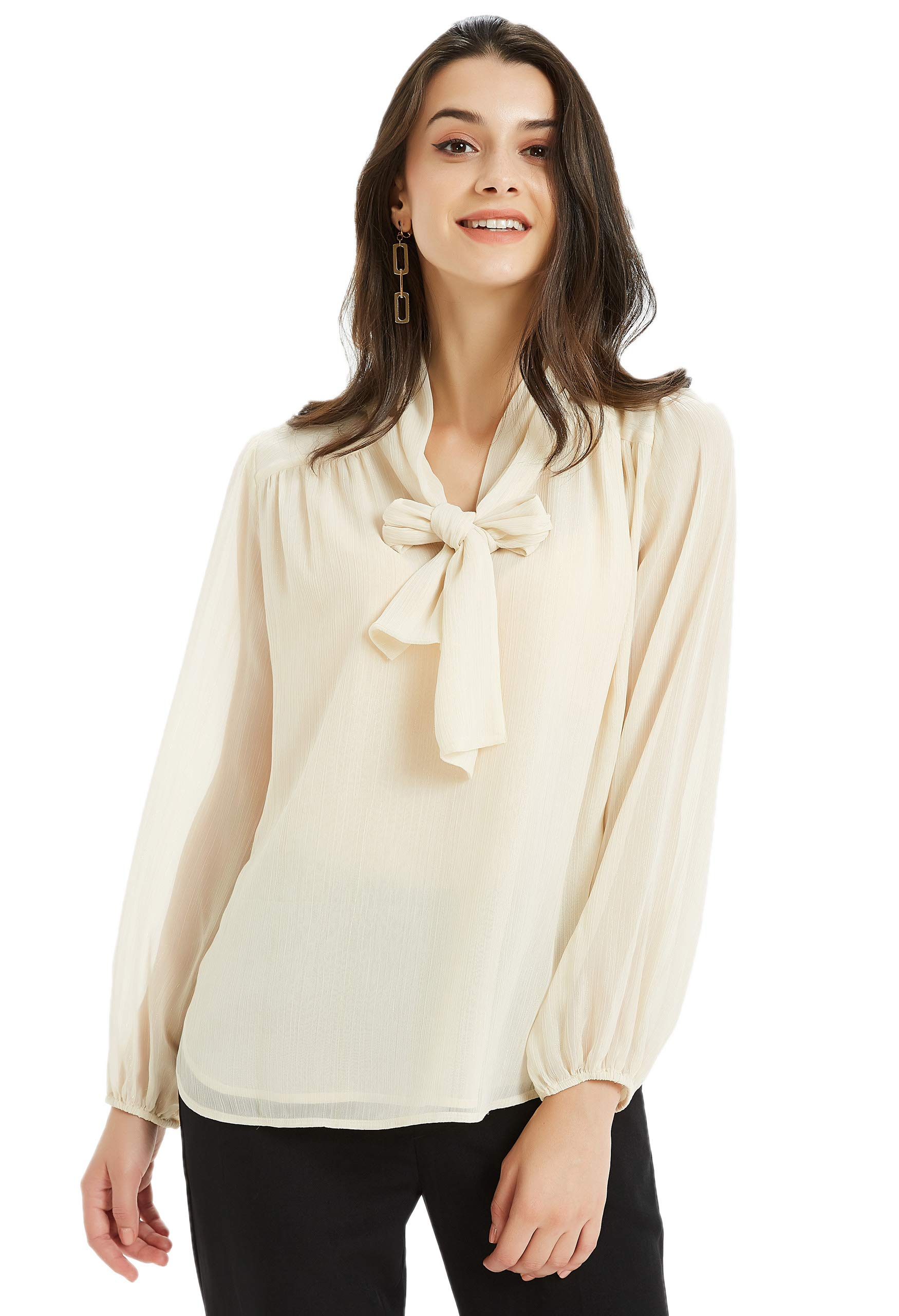 Basic Model Womens Chiffon Blouse Bow Tie Neck Tops Long Sleeve Casual Office Work T Shirts