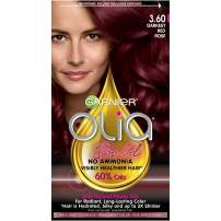 Garnier Olia Ammonia-Free Brilliant Color Oil-Rich Permanent Hair Color, 3.60 Darkest Red Rose (Pack of 1) Red Hair Dye (Packaging May Vary)