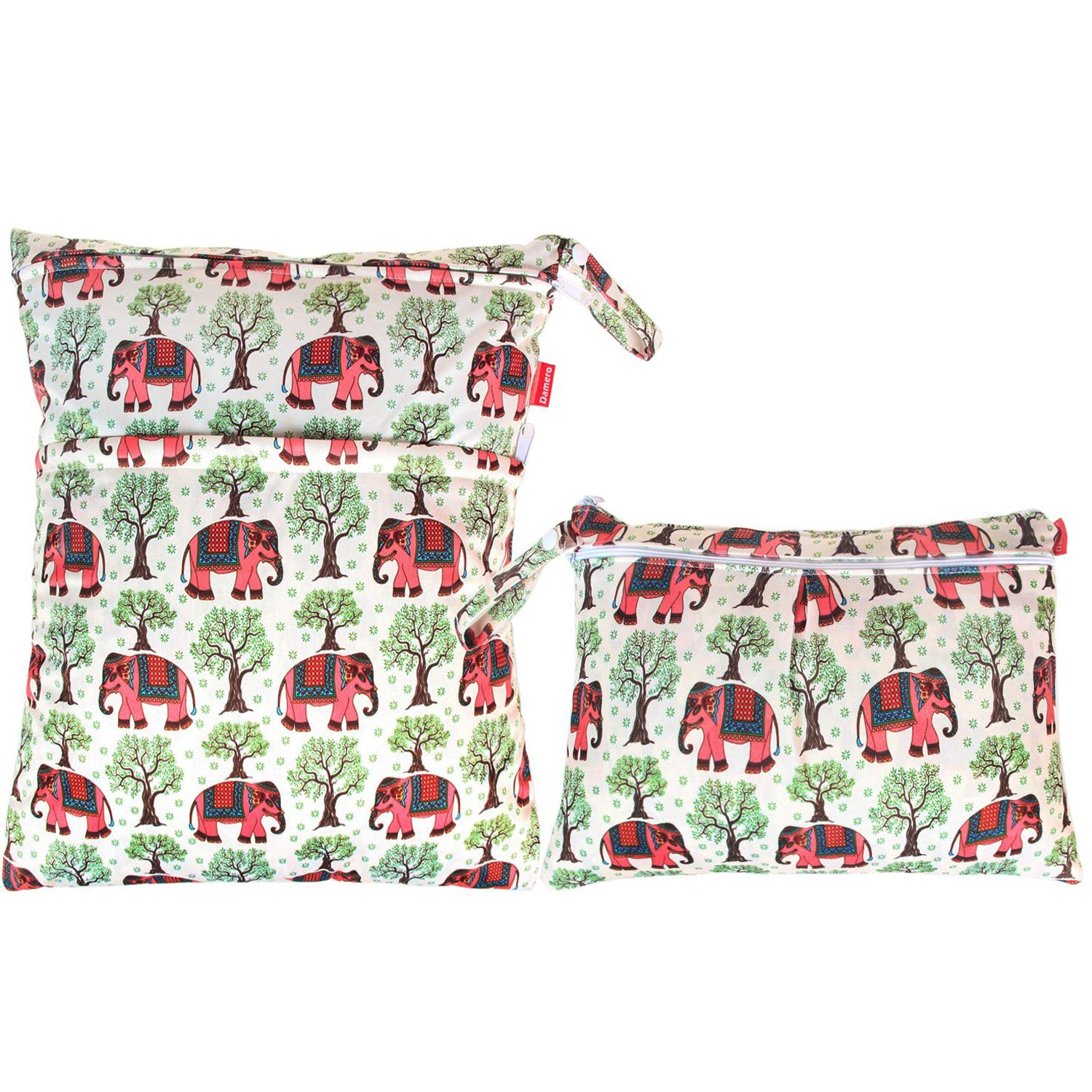 Damero 2pcs Travel Wet and Dry Bag, Reusable Wet Bags Organizer with Two Zippered Pocket for Cloth Diaper, Pumping Parts, Swimsuit and Gym, Elephants