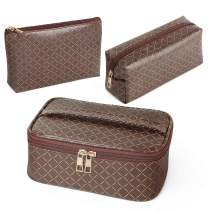 MAGEFY 3Pcs Makeup Bags for Women Portable Travel Cosmetic Bag with Gold Zipper Waterproof Makeup Bag Organizer for Purse